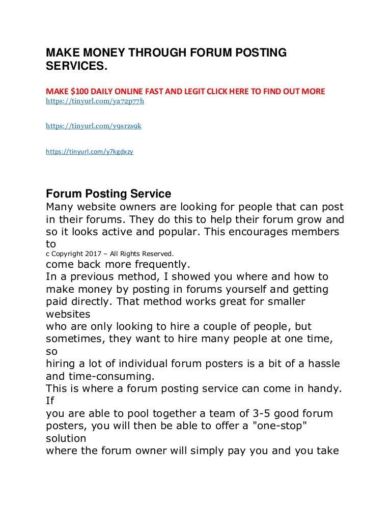 Make money through forum posting services