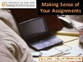 Making sense of your assignments