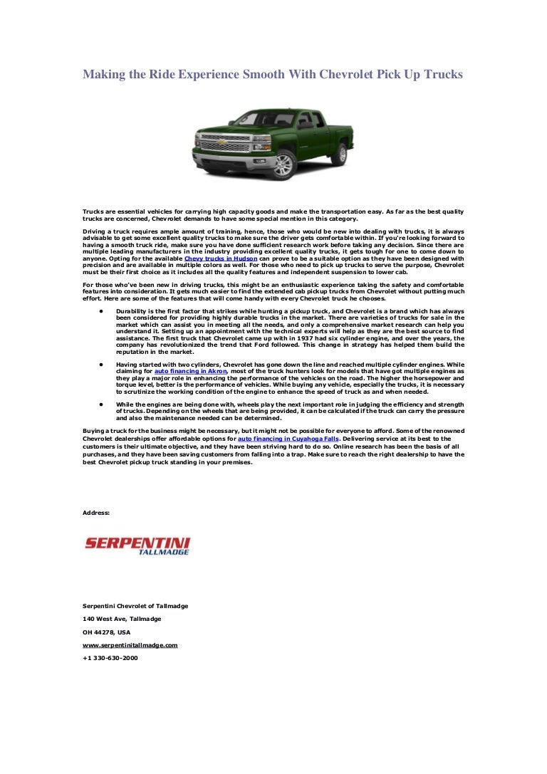 Download Serpentini Chevrolet Tallmadge Background Types Trucks