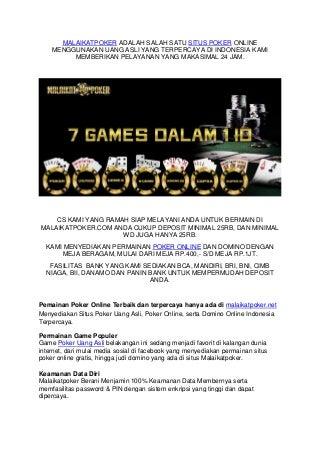Malaikatpoker adalah salah satu situs poker online