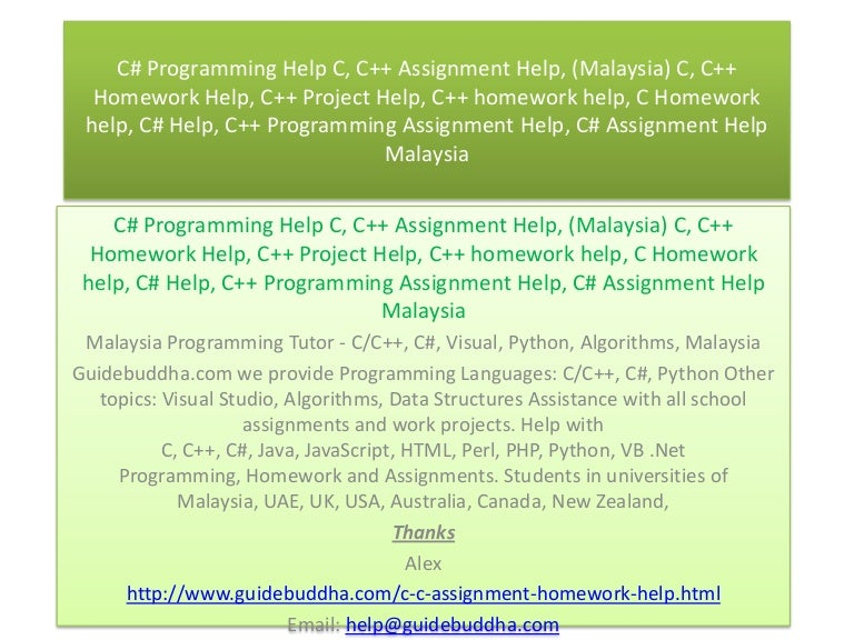 Assignment helpers malaysia