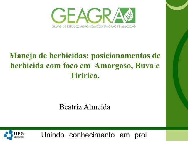 Manejo de herbicidas: posicionamento de herbicidas com foco em Armagoso, Buva e Tiririca