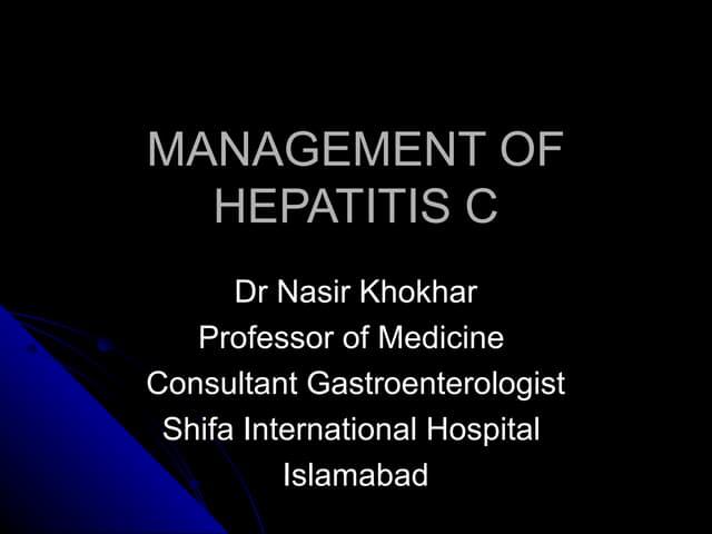 Management of hepatitis c pma