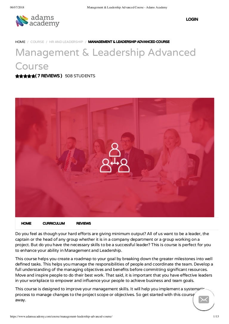 Management And Leadership Advanced Course Adams Academy