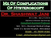 MANAGEMENT OF COMPLICATIONS OF HYSTEROSCOPY BY DR SHASHWAT JANI