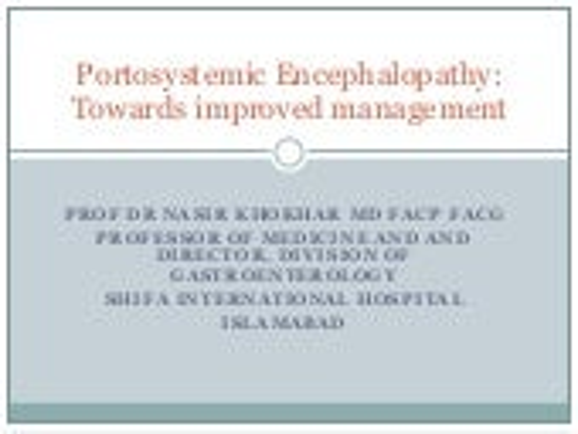 Management of hepatic encephalopathy
