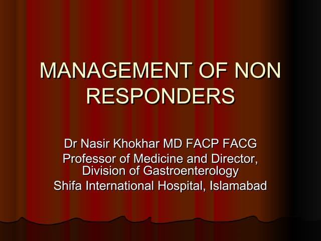 Management of non responders khi