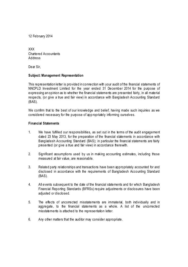 Management representation letter sample public limited listed compani mitanshu Images