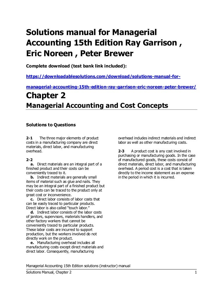 managerial accounting 15th edition garrison solutions manual test b rh slideshare net managerial accounting 14e garrison solution manual managerial accounting garrison 14th edition solution manual pdf