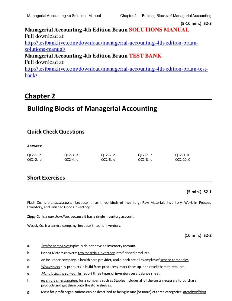 Managerial accounting 4th edition braun solutions manual fandeluxe Images