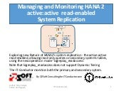 Managing and Monitoring HANA 2 active:active with System Replication