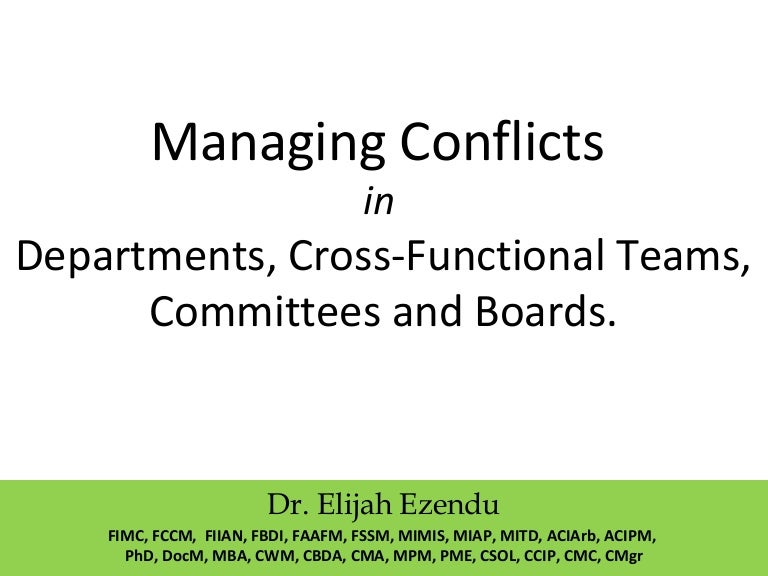 managing conflicts in cross functional team A cross-functional team is a group of people with different functional expertise working toward a common goal—and can include people from finance in this course, leadership trainer and executive coach mike figliuolo outlines the skills needed to successfully manage a cross-functional team.