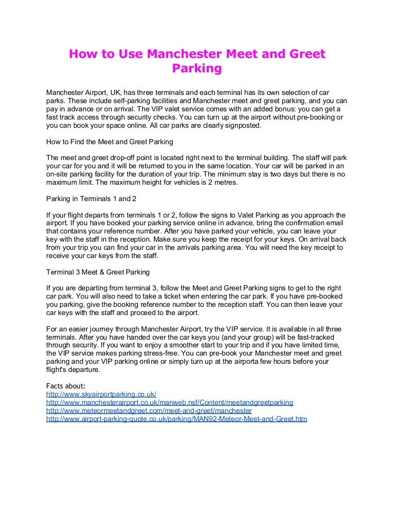 Manchester meet and greet parking m4hsunfo