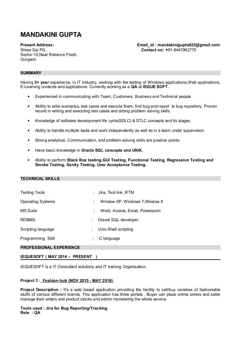 mandakini resume  software tester