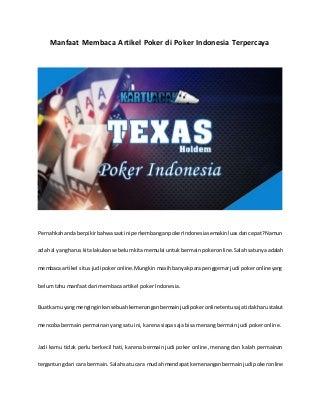 Manfaat membaca artikel poker di poker indonesia terpercaya
