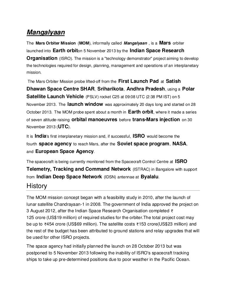 essay on mangalyaan satellite
