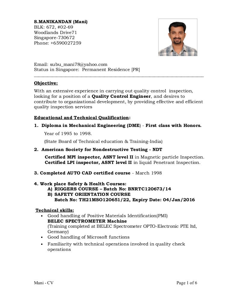 certified welding inspector resume cv of qaqc inspection engineer