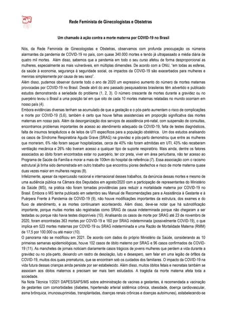 Covid-19: Ginecologistas e Obstetras manifestam inclusão de GESTANTES no grupo prioritário para VACINAÇÃO