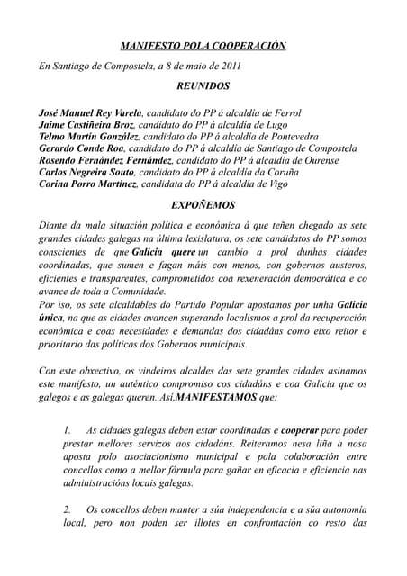 Manifesto pola Cooperacion do Partido Popular