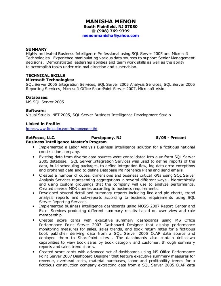 Data Warehouse Developer Resumes. Manisha Bi Resume .