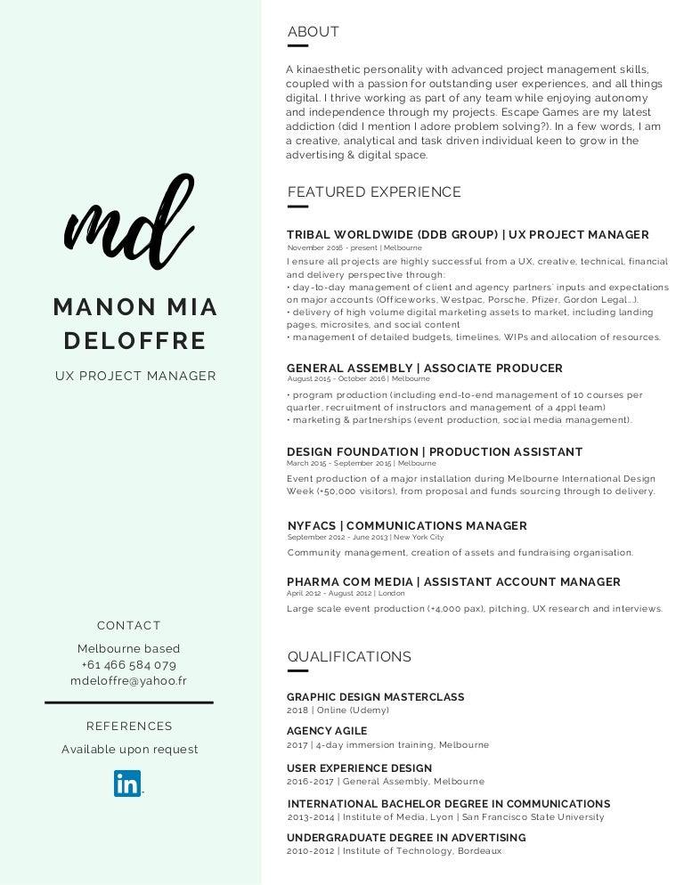 Manon Mia Deloffre Resume