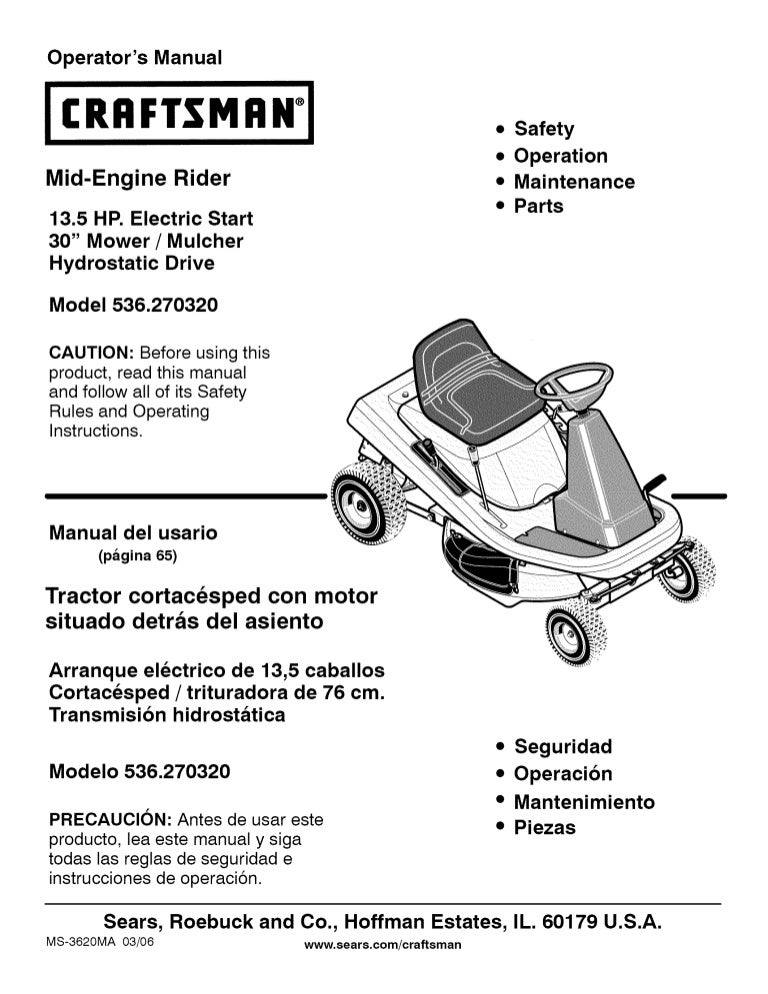 manual craftsman rh slideshare net craftsman mower manual for t2400 craftsman mower parts