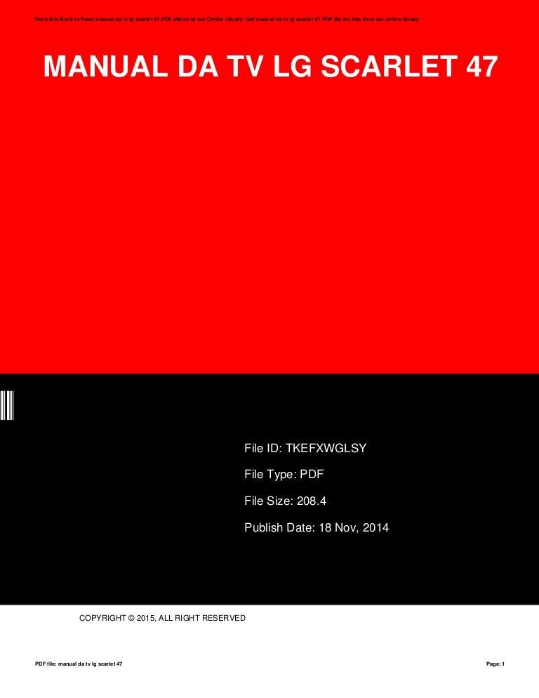 manual da tv lg scarlet 47 rh slideshare net manual tv lg scarlet manual tv lcd lg scarlet 42