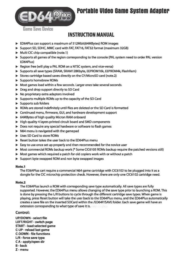 Manual - ED64 Plus - Nintendo 64 - Everdrive Flashcart