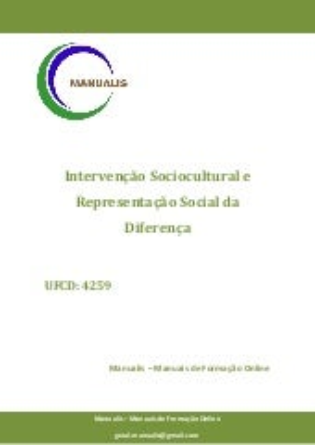 UFCD 4259 - Intervenção Sociocultural e Representação Social da Diferença