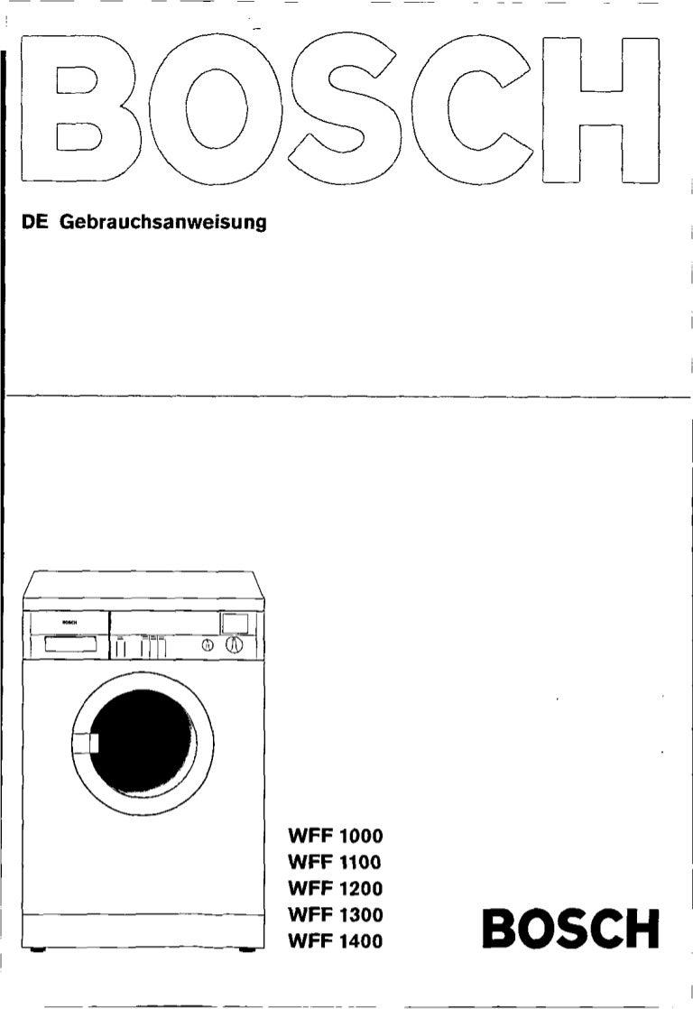 Manual bosch wff 1100