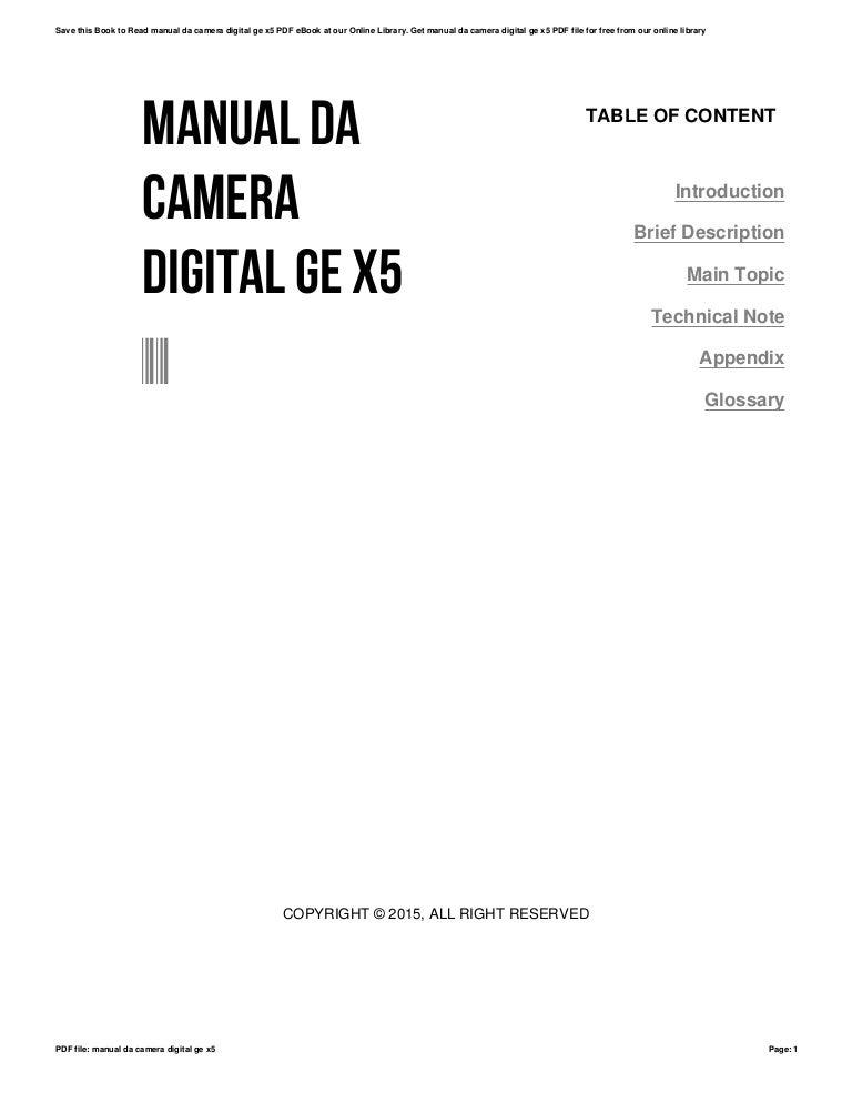 Manual da camera digital ge x5