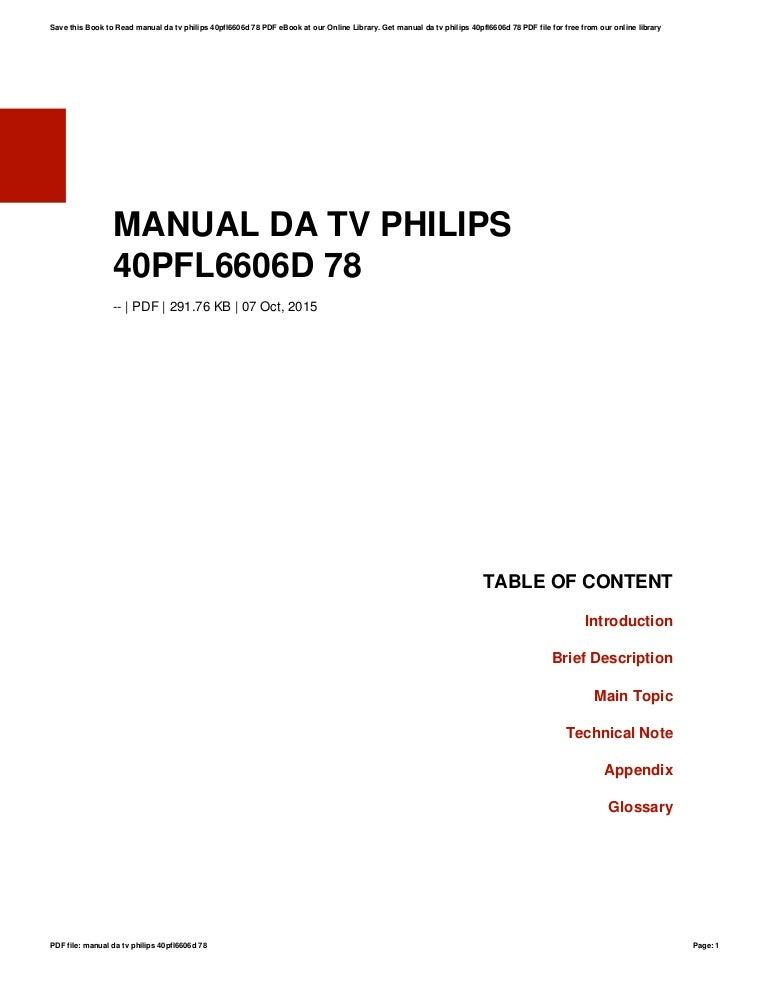 Manual da tv philips 40pfl6606d 78