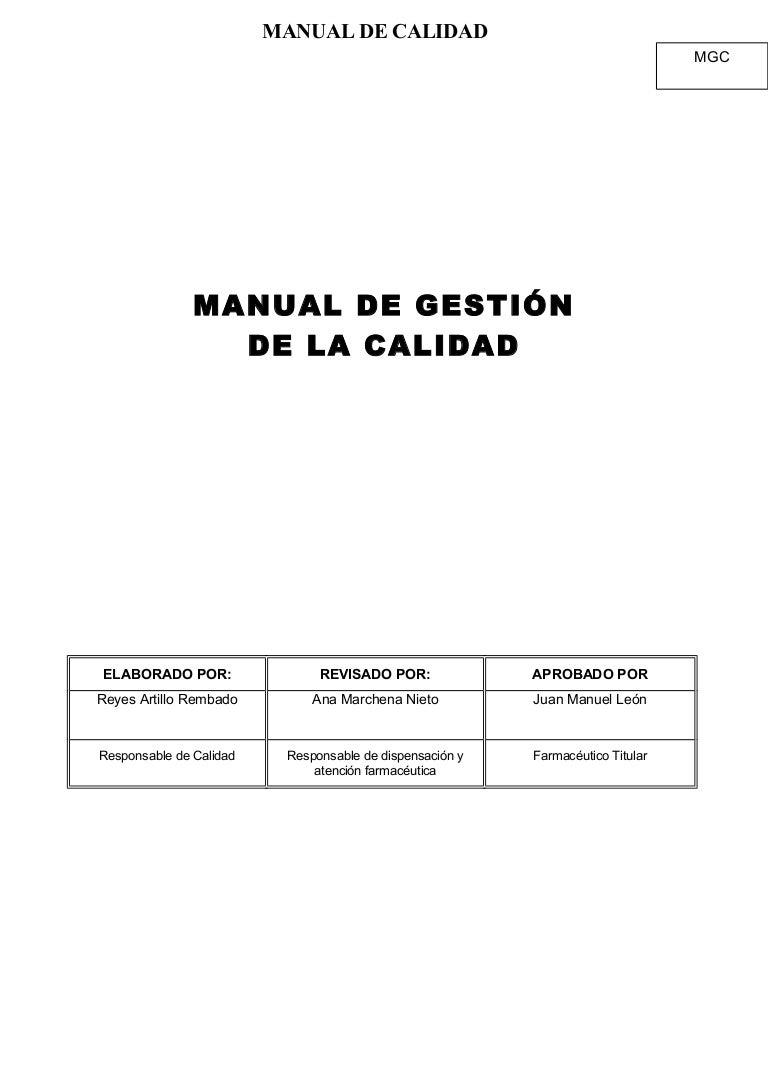 Manual de calidad farmacia