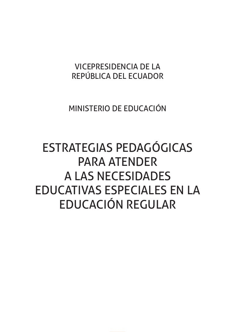 Manual De Estrategias Pedagógicas Para Atender Nee