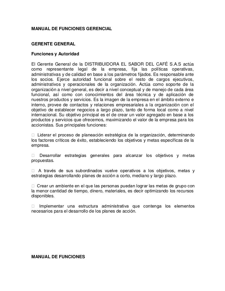 Manual de funciones DISTRIBUIDORA EL SABOR DEL CAFE