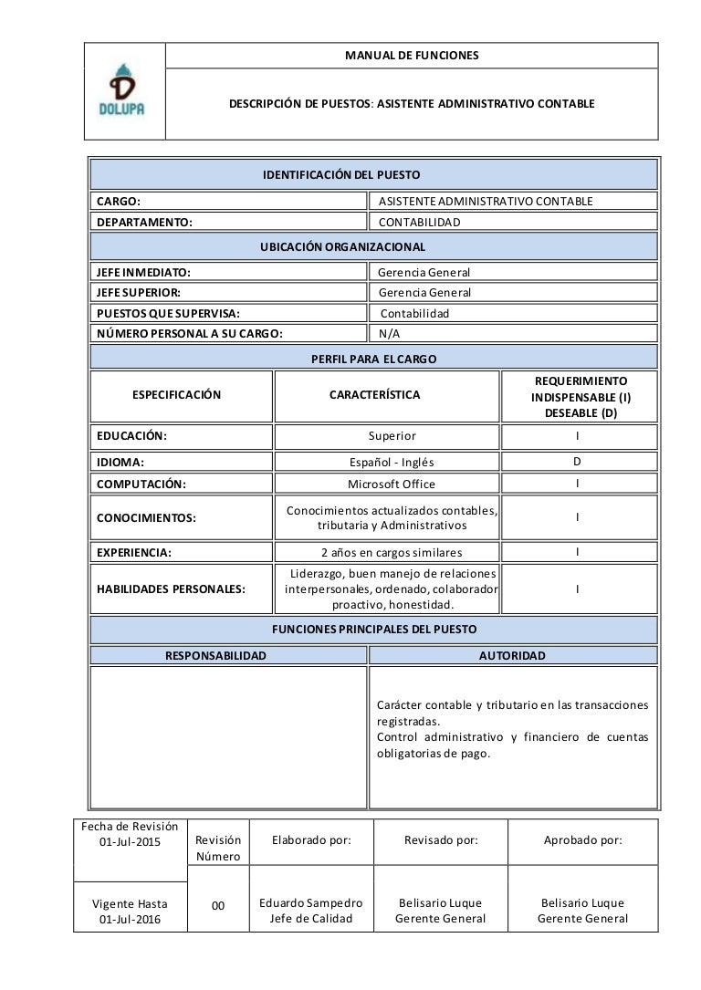Manual de funciones asistente administrativo contable