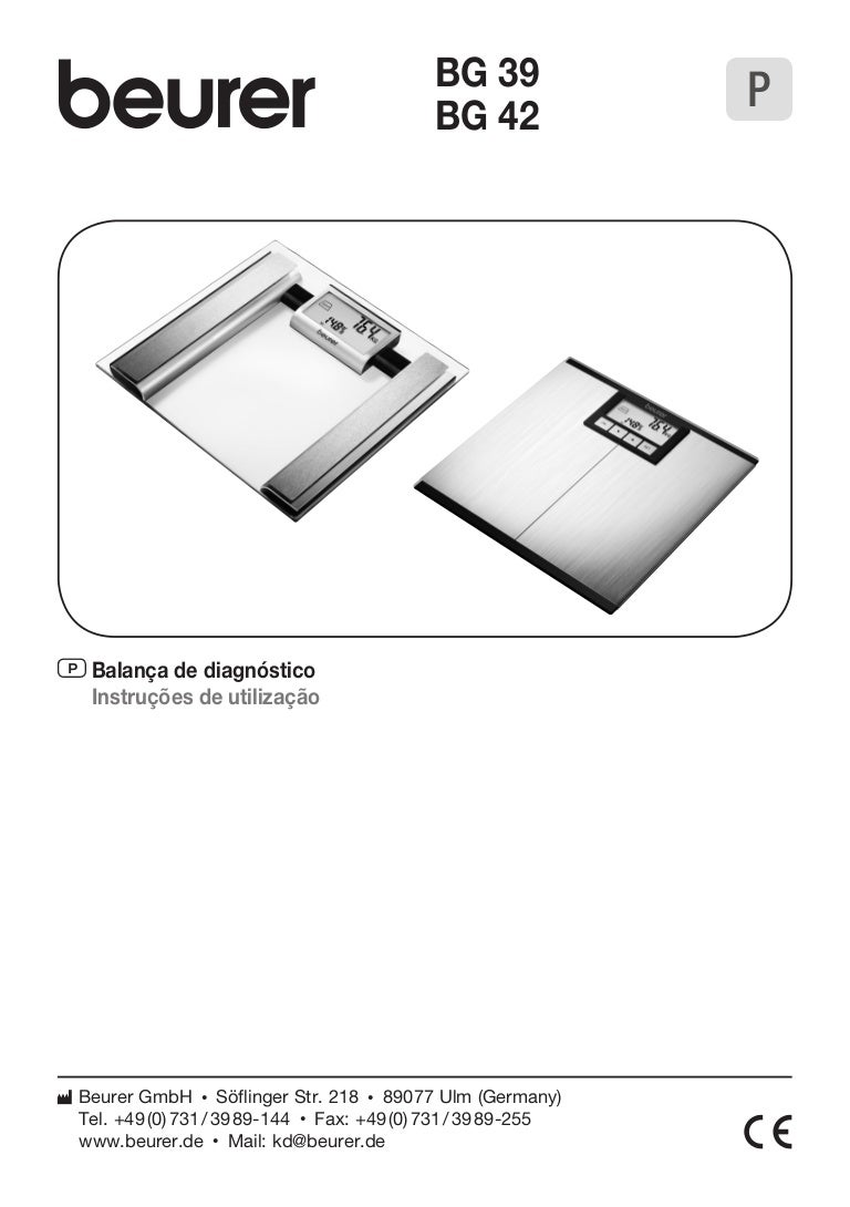 Manual de Instruções da Balança De Diagnóstico BG 39 da Beurer