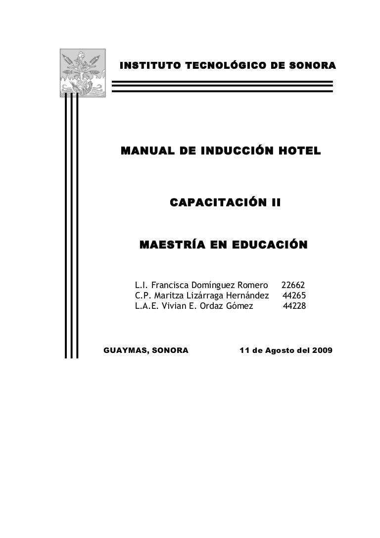 MANUAL DEL INSTRUCTOR PARA EL HOTEL ARMIDA DE GUAYMAS SONORA MÉXICO