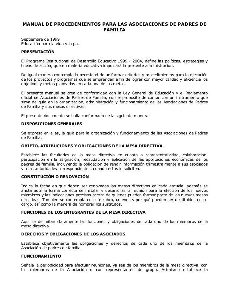 Manual de procedimientos para las asociaciones de padres for Acta familiar