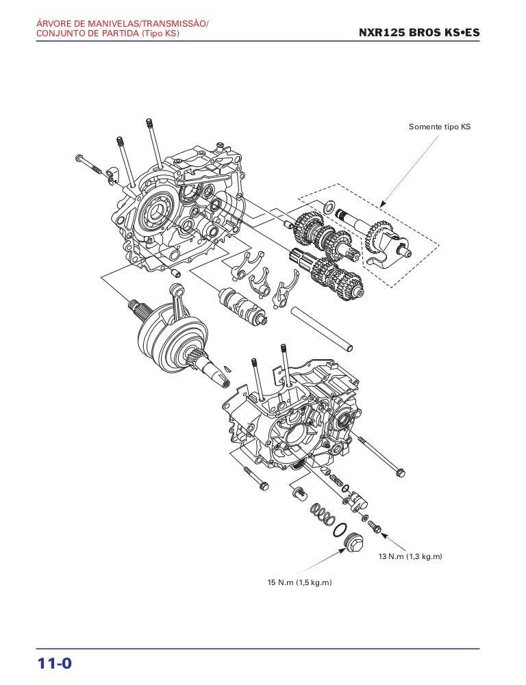 Manual de serviço nxr125 bros ks es 00 x6b-ksm-001 arv-manive