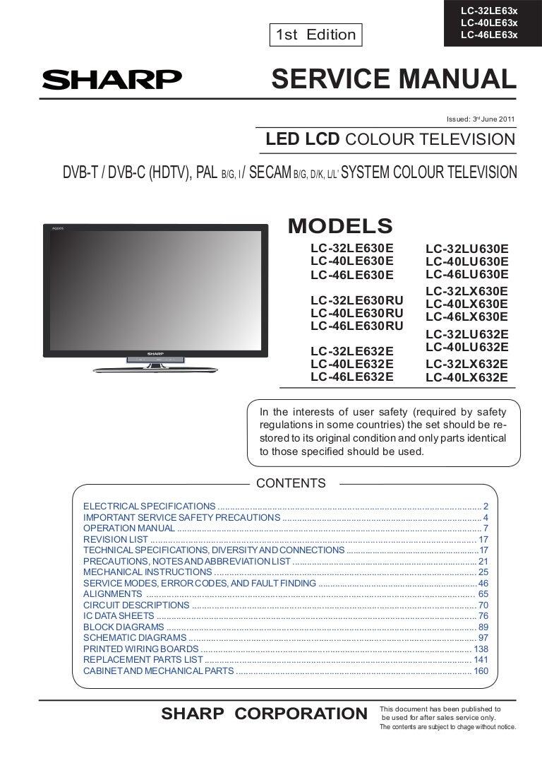 Manual De Servio Tv Sharp Led Lcd Diversos Modelos Linha Lc Schematic Diagram Analog Multimeter Philips Diagrams