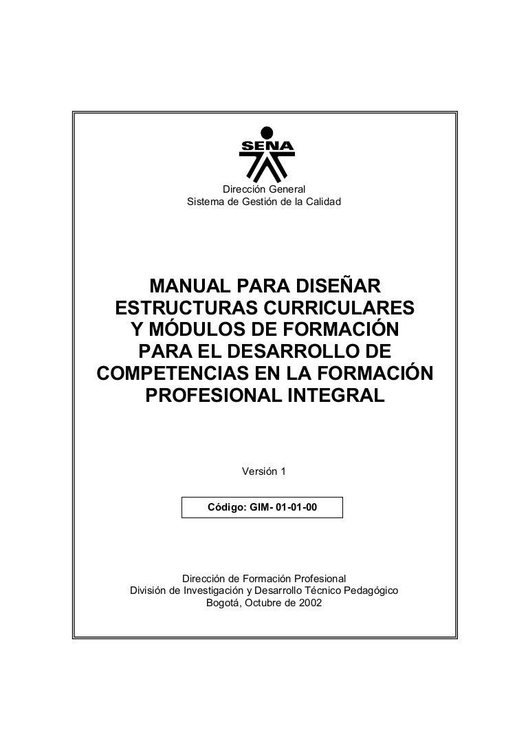 Manual Diseno Curricular Y De Modulos (Sena)
