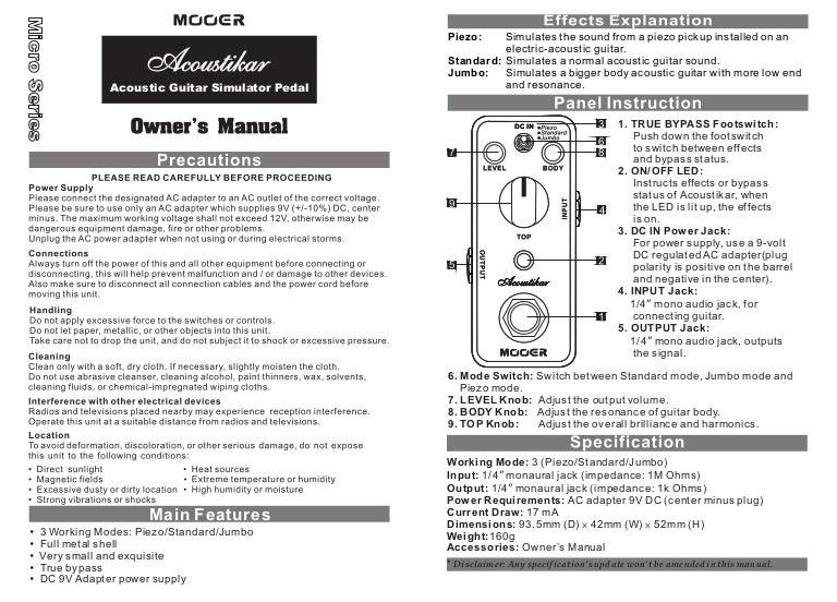 Manual do pedal Mooer MAC1 Acoustikar (PORTUGUÊS)