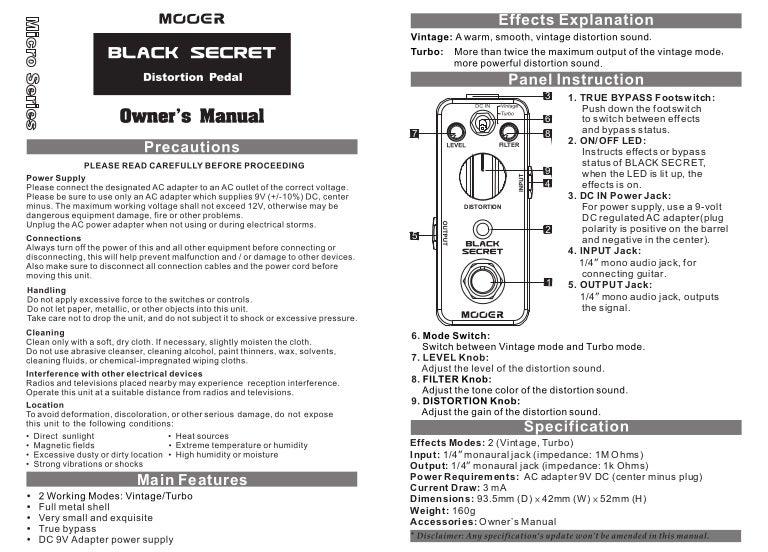 Manual do pedal Mooer MDS1 Black Secret (PORTUGUÊS)