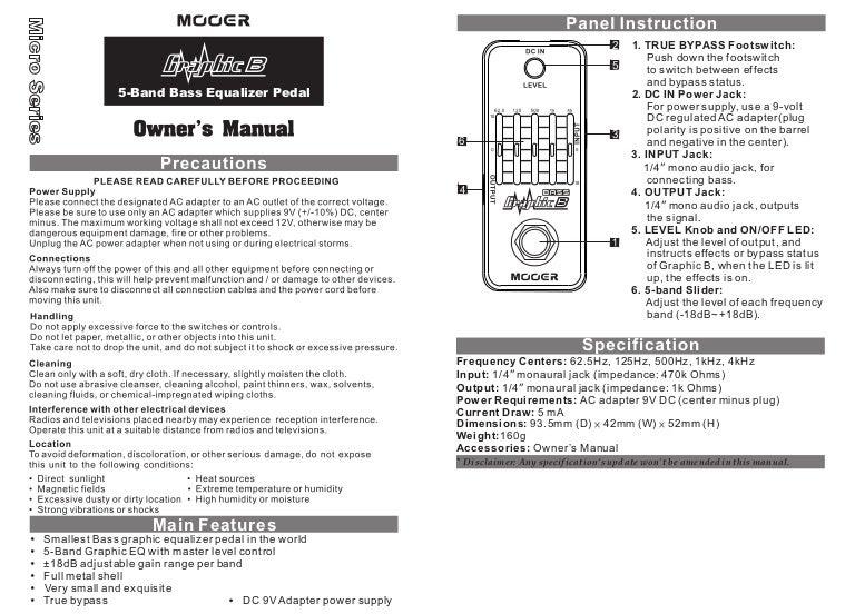 Manual do pedal Mooer MEQ2 Graphic B (PORTUGUÊS)