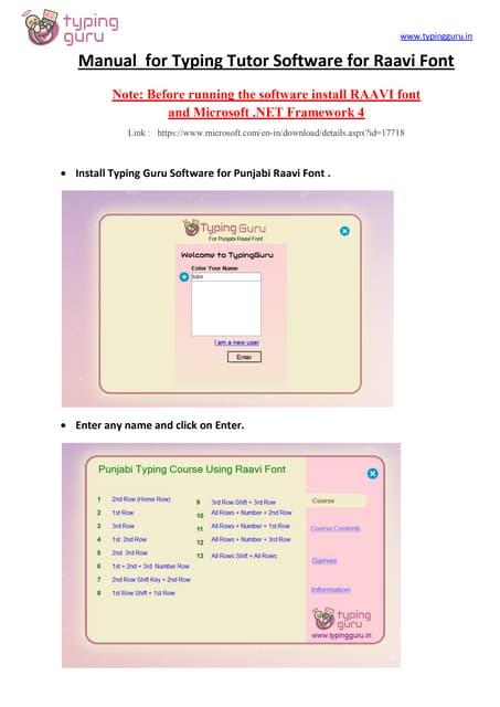 Manual for typing tutor for punjabi raavi font