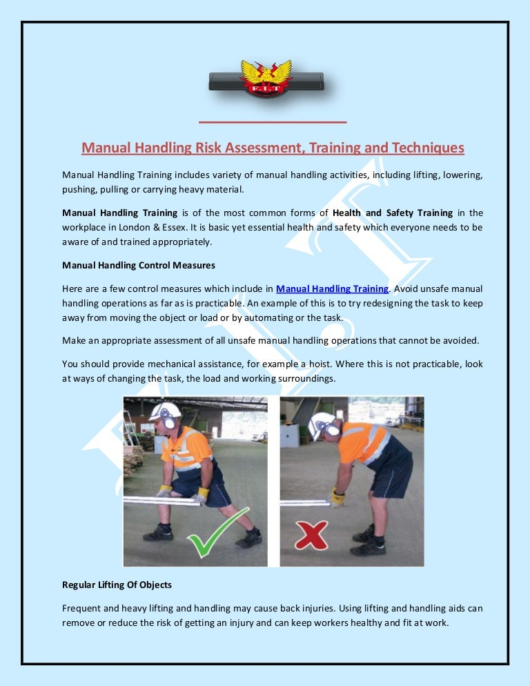 Manual Handling Risk Assessment Training and Techniques – Manual Handling Risk Assessment