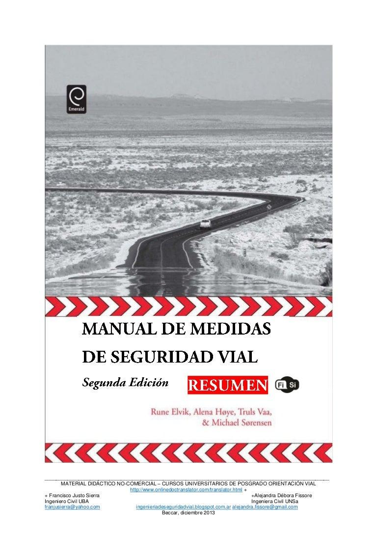 Manual medidas seguridad vial elvik 2009 resumen
