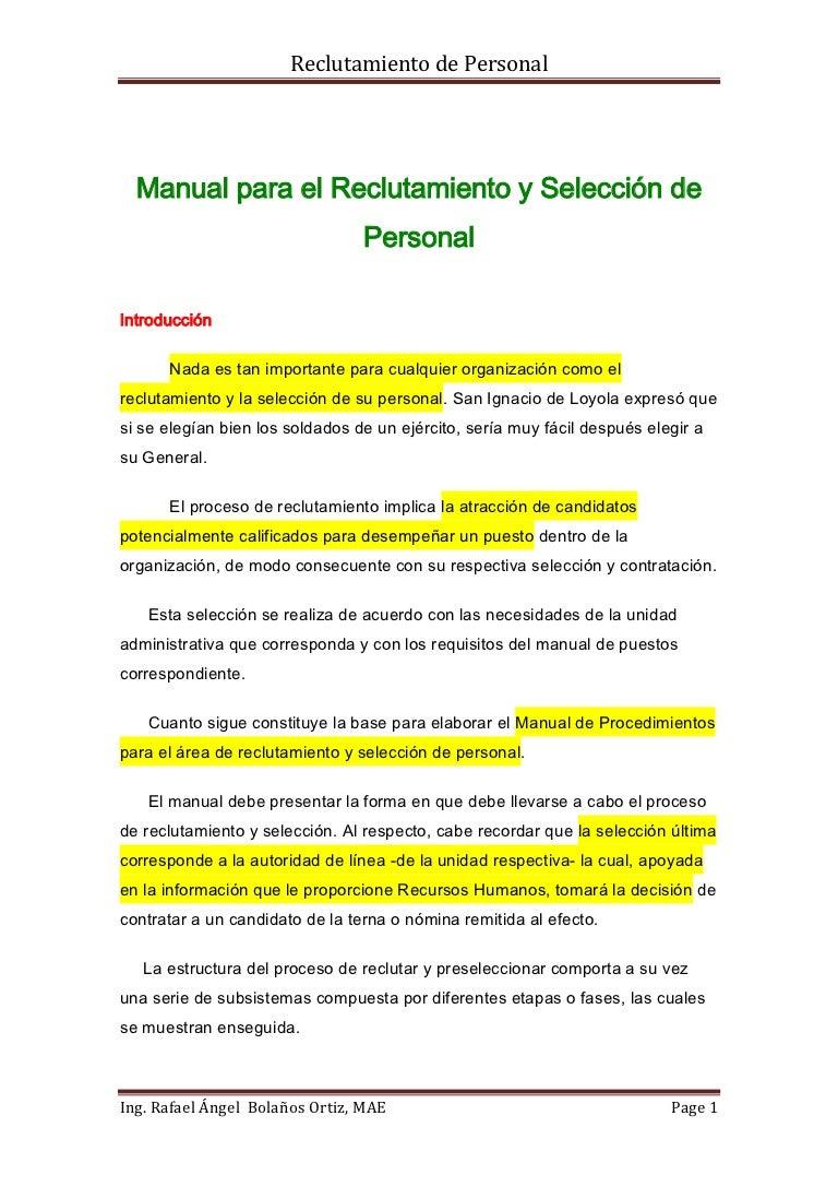 Manual de seleccion y reclutamiento de personal.