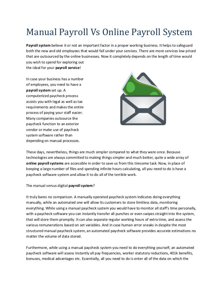 Manual payroll vs online payroll system